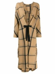 Phisique Du Role fringed oversized coat - Brown