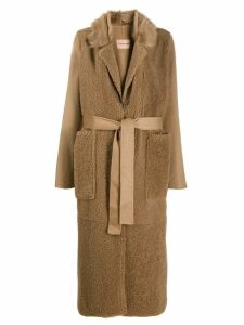 Yves Salomon long textured coat - Neutrals
