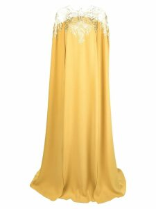 Oscar de la Renta embroidered cape dress - Yellow