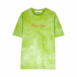 Walk Of Shame Green Embroidered Cotton T-shirt