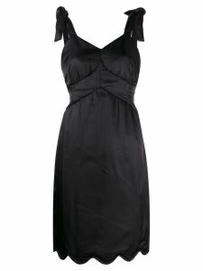 Mm6 Maison Margiela knotted straps scalloped dress - Black