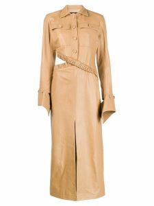 Rokh flared cuff shirt dress - Neutrals