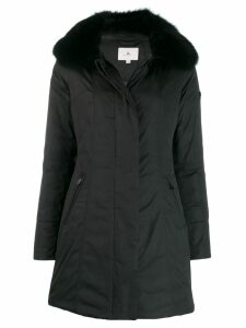 Peuterey fox fur trim coat - Black