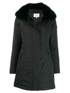 Peuterey fox fur trim coat - Black