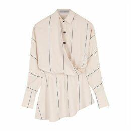 Palmer//harding Mirror Blush Striped Draped Shirt