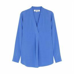 Diane Von Furstenberg Sanorah Powder Blue Silk Top