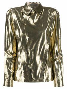 Saint Laurent asymmetric metallic shirt - Gold