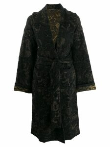 Etro floral pattern belted coat - Black