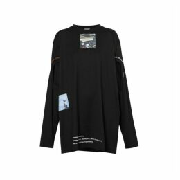 Burberry Cut-out Detail Montage Print Oversized Top