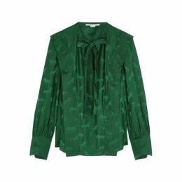 Stella McCartney Green Horse-jacquard Satin Blouse