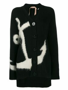 Nº21 anchor intarsia knit cardigan - Black