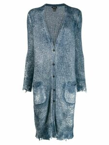 Avant Toi frayed hem button cardigan - Blue