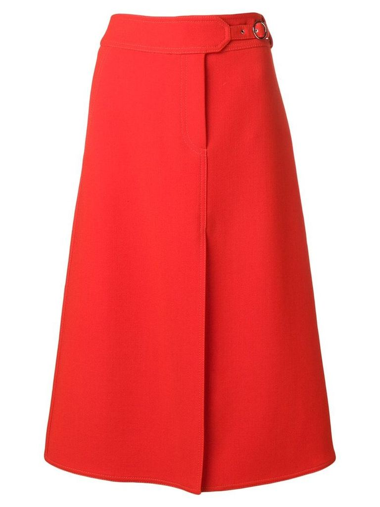 Emilio Pucci Red Split Hem Midi Skirt