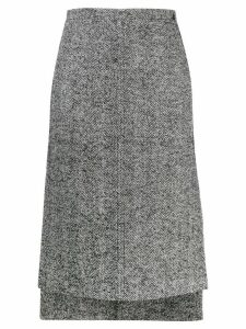 Nº21 herringbone tweed step hem skirt - Black