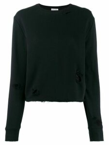 Saint Laurent distressed details knitted sweater - Black