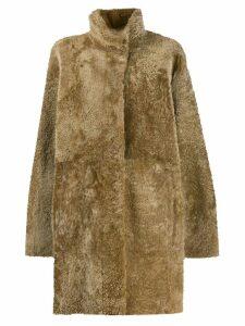 Drome shearling midi coat - Neutrals