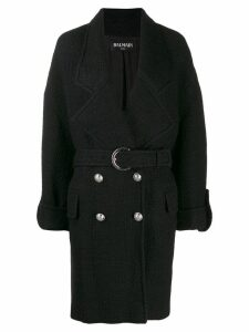 Balmain belted coat - Black