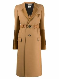 Bottega Veneta single-breasted panelled coat - Brown