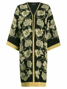 Etro floral print duster coat - Black