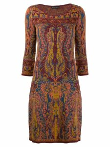 Etro knitted paisley dress - Brown