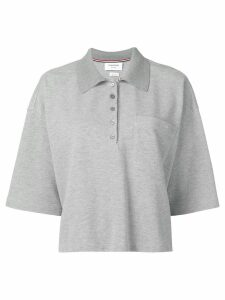 Thom Browne Piqué Cotton Oversized Pocket Polo - Grey
