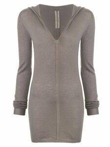 Rick Owens long-line hooded top - Grey