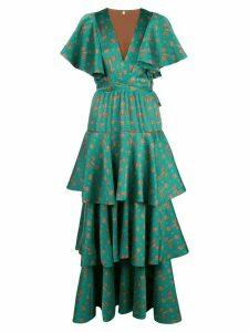 Johanna Ortiz Tiered printed maxi dress - Green
