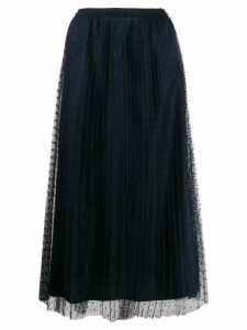 Red Valentino point d'esprit pleated skirt - Blue