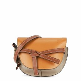 Loewe Gate Small Terracotta And Grey Leather Saddle Bag