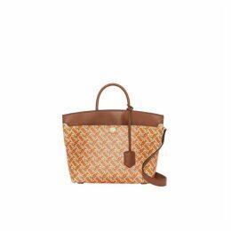 Burberry Small Monogram Print Leather Society Top Handle Bag