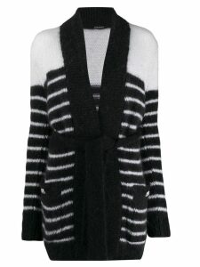 Balmain striped belted cardi-coat - Black