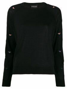 Emporio Armani logo patterned jumper - Black