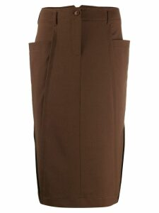 Alberta Ferretti patch pocket pencil skirt - Brown