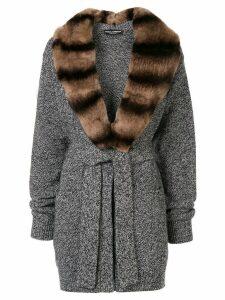 Dolce & Gabbana fur collar cardi-coat - Grey