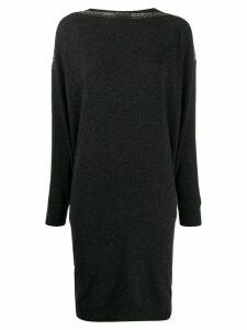 Gentry Portofino rhinestone-embellished knitted dress - Grey