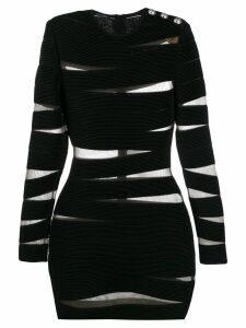 Balmain cut-out stripe fitted dress - Black