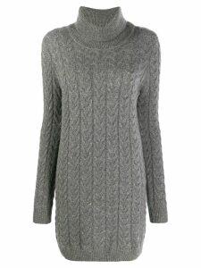 Blumarine knitted roll neck dress - Grey