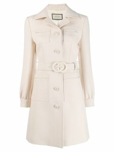 Gucci fitted button up coat - Neutrals
