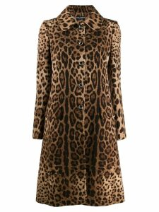Dolce & Gabbana leopard print coat - Brown