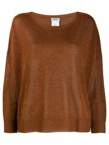 Liu Jo round neck shimmer jumper - Brown