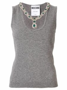Moschino bejeweled collar tank top - Grey