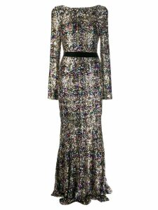 Talbot Runhof sequin embroidered evening dress - Gold