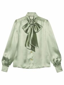 Gucci Satin shirt with neck bow - Green
