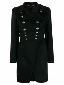 Philipp Plein skull button midi coat - Black