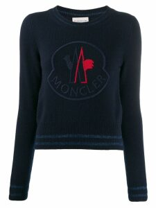 Moncler oversized logo knitted sweater - Blue