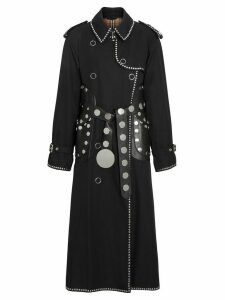 Burberry Lambskin Detail Studded Cotton Gabardine Trench Coat - Black