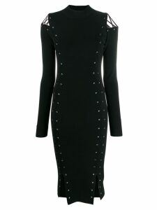 McQ Alexander McQueen knitted eyelet fitted dress - Black