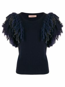 Twin-Set feather ruffled knitted top - Blue
