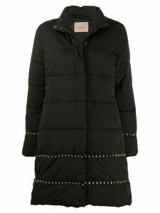Twin-Set braid long line puffer jacket - Black