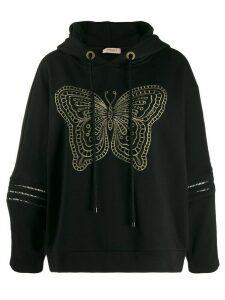Twin-Set butterfly hoodie - Black